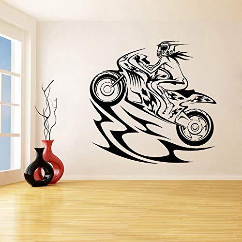 Pegatinas de pared Adhesivos Pared Decoración de dormitorio para niña, calcomanía de vinilo para motocicleta, pegatinas de carreras de velocidad extrema, Mural de caballero y jinete femenino 84x86cm