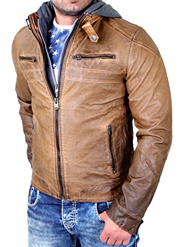 Reslad Lederjacke Herren Kunst- Lederjacke Abnehmbarer Kapuzen-Sweater RS-09 Camel S