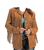coolhides Womens Western Fringes Leather Jacket (Medium) Brown