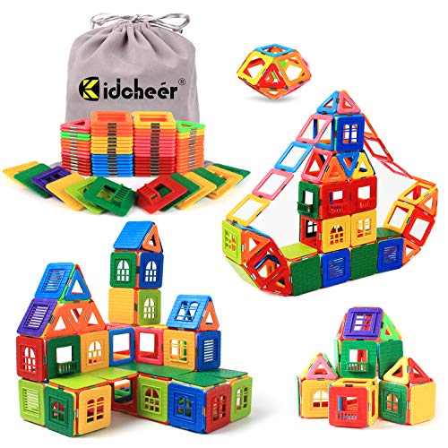 KIDCHEER Magnetic Blocks Building Toys for Kids, Magnetic Tiles STEM Kit Educational Stacking Blocks Toys for Boys and Girls with Storage Bag (72PCS)