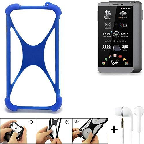 K-S-Trade® Handyhülle Für Allview V2 Viper S Bumper Schutzhülle Silikon Schutz Hülle Cover Case Silikoncase Silikonbumper TPU Softcase Smartphone, Blau (1x), Headphones