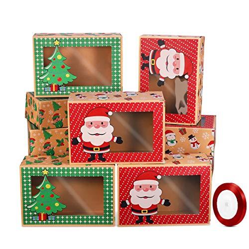 Hemoton - 12 cajas de galletas de Navidad con cinta y caja de regalo con ventana de papel kraft para galletas, dulces, galletas, regalos para fiestas