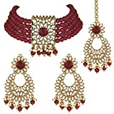Aheli Jodha Akbar Faux Kundan - Gargantilla de perlas de imitación con pendientes Maang Tikka India tradicional Bollywood para mujeres y niñas rojo