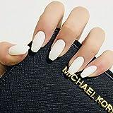 Sethain Cercueil mat Faux ongles Moyen Couleur pure Ballerine Couverture complète Acrylique Art False Nail Tips 24Pcs pour femmes et filles (Blanc)