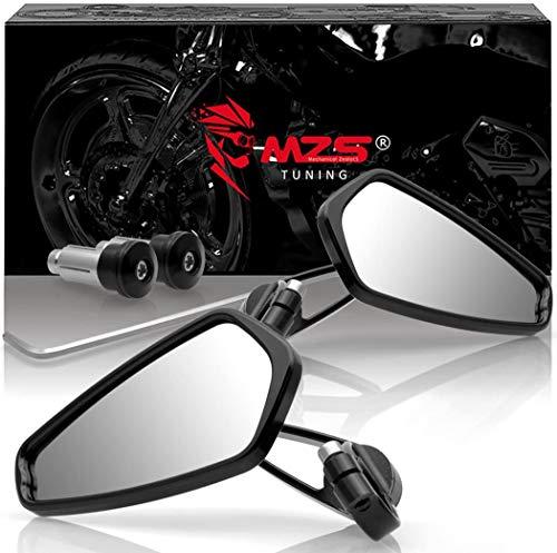 MZS Motorcycle Bar End Mirrors Rear View CNC Compatible with Honda GROM MSX125 CB500F Kawasaki Z125 pro Z650 Z750 Z800 Z900 Yamaha MT-03 MT-07 FZ-07 MT-09 FZ-09 MT-10 FZ-10 MT-25 FZ6 FZ8 FZ6R Suzuki
