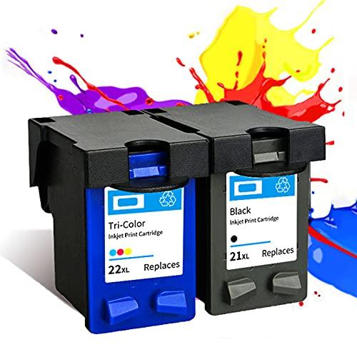 PLOKN Reemplazo de Cartucho de Tinta remanufacturado para HP21 22XL para Usar con D1311 D1320 D1330 D1341 D1360 D1420 D1430 D1445 D1460, Reemplazo para F4175 F2290 Impreso Black+Color