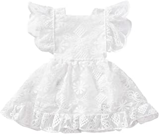 Baby Lace Christening Baptism Girl Dress White Ruffles Sleeve One-Piece Bodysuit