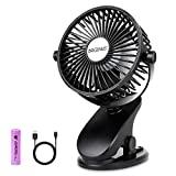 BRIGENIUS Battery Operated Clip on Stroller Fan, Portable Mini Desk Fan Rechargeable, USB Powered Clip Fan for Baby Stroller Office Outdoor Travel (Black)