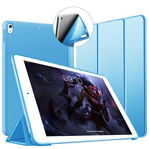 VAGHVEO TPU ソフトスマートカバー 超薄型 超軽量 iPad Air 2019 ケース(iPad Air3)10.5インチ /iPad Pro 10.5 ケース オートスリープ機能 衝撃吸収 三つ折りスタンド for Apple iPad Pro 10.5インチ/iPad Air 10.5インチ(ブルー)