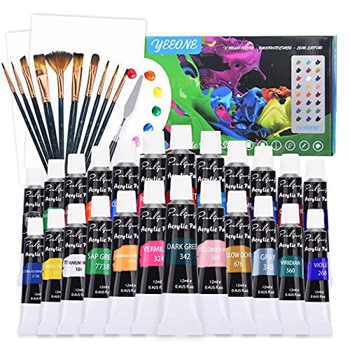 YEEONE 38 Stück Acrylfarben Set(inklusive Handtasche )- 24X12ML Acrylfarben mit 10Pcs Pinselset, 2Pcs Leinwand, 1* Mischpalette, 1*Mischmesser - Perfekt Pinselset Acrylfarben...
