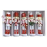 Cascanueces Figuras de Adorno Colgante Árbol de Marionetas Colgante Decoración navideña Mini Soldado de Madera Marioneta Cascanueces para árbol de Navidad, Mesa, Decoración de la habitación (C 5pcs)