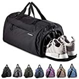 Fitgriff® Sporttasche Reisetasche mit Schuhfach & Nassfach - Männer & Frauen Fitnesstasche - Tasche für Sport, Fitness, Gym - Travel Bag & Duffel Bag 58cm x 31cm x 31cm [50 Liter] (Black, Medium)