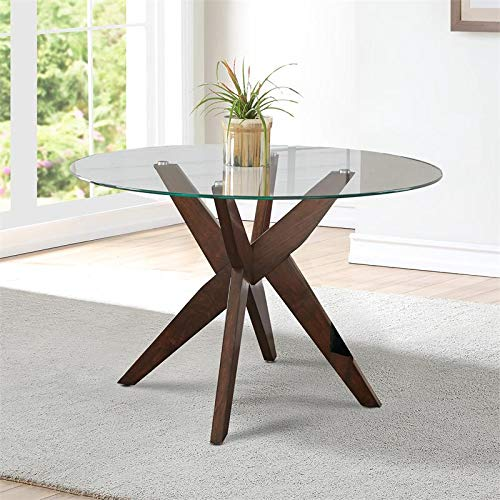 Steve Silver Amalie 48' Round Glass Top Dining Table