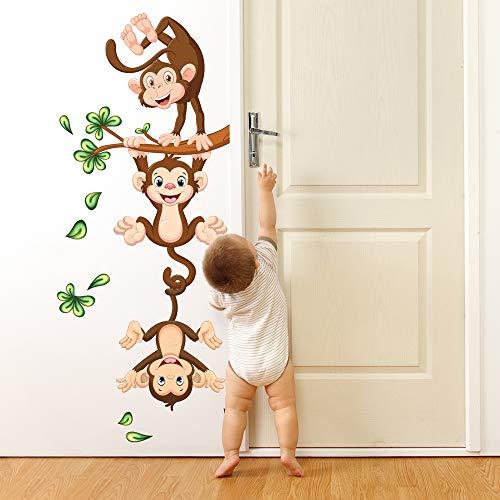 R00359 Pegatina de Pared para niños - Monos en el Trapecio - Medidas 30x120 cm - Decoración de Pared, Pegatinas de Pared, Papel Pintado Adhesivo Efecto Tela