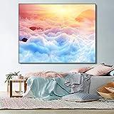 zgwxp77 Sunrise Wonderland Cloud murale Arte Tela Pittura Poster Stampa murale Decorazione soggiorno60x48cm Senza Cornice