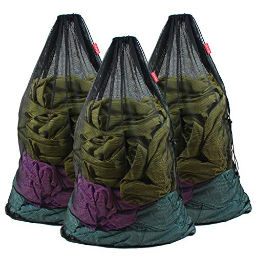 Meeall Mesh Laundry Bag 3 Pack 24 x 36 Inches Heavy Duty Large Laundry Bags with Drawstring Fit Travel Camp Home College Dorm Dirty Cloth Big Storage, Black