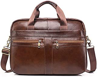 Male Leather Briefcase Oil Wax Leather Cross Section Business Briefcase Computer Bag Europe and America (Color : Brown, Size : 14 inch)