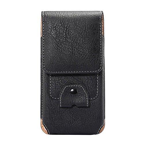 jbTec Gürteltasche Handy Tasche 160x80x15mm - Karabiner Handytasche Gürtel Herren Smartphone Holster Bag Handygürteltasche Outdoor Belt Kinder, Farbe:Schwarz