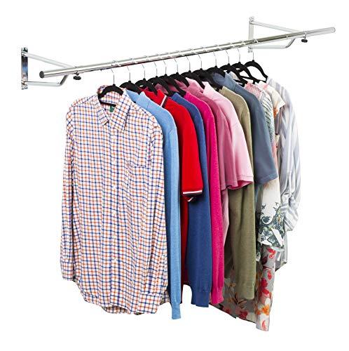 Direct Online Houseware - Barra appendiabiti, montaggio a muro, a tubo,  cromata, ideale per l'esposizione nei negozi, 5FT