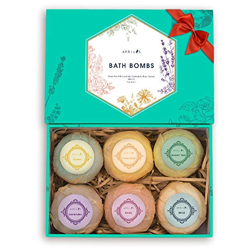 Aprilis Bath Bombs Gift Set, Organic & Natural Essential Oil Bath Bombs for Dry Skin Moisturizing, Handmade Fizzy Spa Bath Set, Perfect Birthday / Christmas Gift for Women Kids