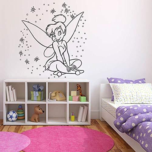 Anime girl pegatinas de pared dormitorio de los niños polvo mágico decoración del hogar vinilo pegatinas de pared vivero lindo mural