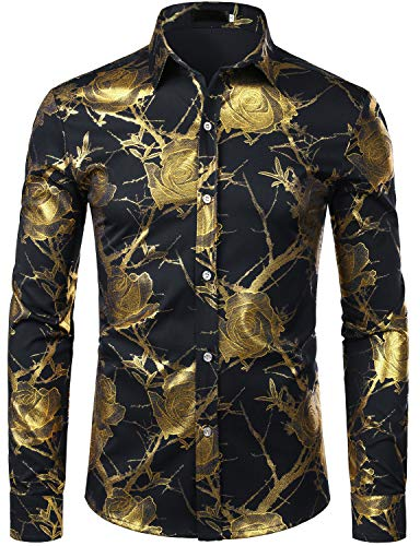ZEROYAA Men's Nightclub Shiny Golden 3D Rose Flower Printed Slim Fit Button Down Party Dress Shirt ZZCL15 Black Small