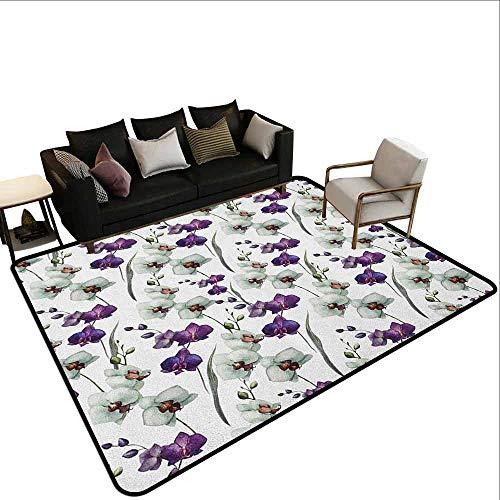 Tapijt liner voor tapijt Aquarel Bloem, Wilde Bloemen Tekening van Romantische Zomer Thema Moeder Aarde Art, Wit Violet Groen