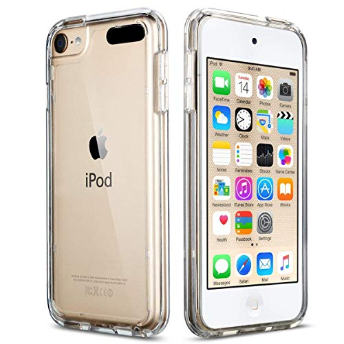 ULAK Soft TPU Bumper PC Back Hybrid Case for iPod Touch 6/iPod Touch 5/iPod Touch 7 - Retail Packaging - Clear Slim