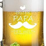 FORYOU24 Untersetzer und Bierkrug Bierseidel mit Gravur Motiv Papa II- Geschenkidee Bierglas graviert Vatertag - 2