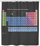 Wolfenthal Cortina de Bano/de Ducha con la Tabla periodica de los Elementos (Negro), 180x200 cm Incl. Ganchos, rotulacion Espanol, Revestimiento antimoho, Ojales metalicos estables, Poliester