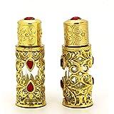 CHENGX Botellas de Perfume de Estilo árabe,Botellas Recargables Vintage,cuentagotas de aleación de...