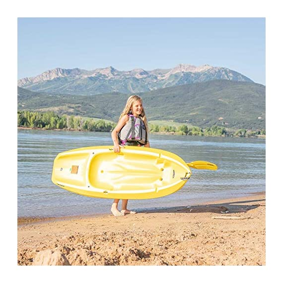 Lifetime 6 Foot Yellow Youth Kayak 8 Ergonomic cockpit design enhances balance and motor skills Molded finger handles on each side of the kayak Reverse chine for enhanced stability with swim-up step