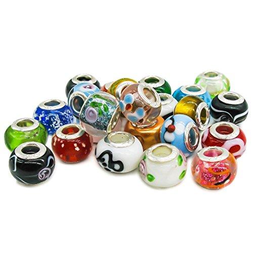 TaoNaisi 50 piezas de cuentas de vidrio de plata para adaptarse a las pulseras del estilo de Pandora