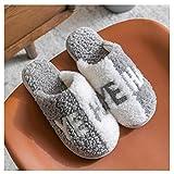 NYKK Zapatillas de algodón Zapatillas de algodón for Hombres Otoño e Invierno Muebles for el hogar Los Amantes de Las Zapatillas de algodón de Peluche con Solas Gruesas Hombres Zapatos de casa