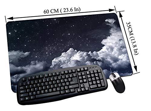 Alfombrilla Raton Gaming,Cielo nocturno, cielo nocturno nublado Astronómico Telescopio espacial Vista de estrella,Impermeable con base de goma antideslizante, PC y laptop comfortable mouse pad60x35 cm