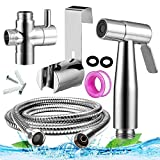 Handheld Toilet Bidet Sprayer Set Pipe Shattaf Water Cleaner Cloth Diaper Sprayer for Toilet Attachment with Water Pressure Control Hose and T Valve-Chrome