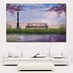 Nature Canvas Wall Art Bench on Flowing River with Crescent Moon Lavender Trees and Grass Illustration Pictures for Living Room Office Wall Decor 48x32