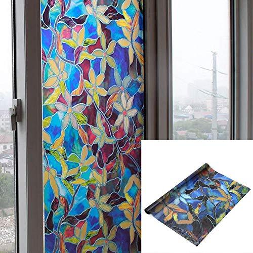 Ericcay Mattglas Fensteraufkleber 45 X 200 cm Einfacher Stil (Bunte Blume) Fensterfolie Landhaus Vintage Jugendstil Ornament (Color : Colour, Size : Size)