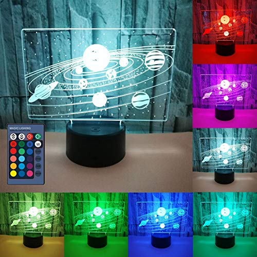 QYIYA Creative Solar System 3D Optical Illusion Lamp LED Neon Touch Night Light Home