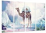 Cuadro Fotográfico Paisaje Futurista, Subrealista Animal Camello Lago, Agua Tamaño total: 131 x 62 cm XXL