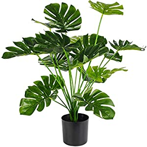 """Silk Flower Arrangements Artificial Palm Tree, 28"""" Large Fake Plants in Pot for Indoor and Outdoor Home Office Decor"""