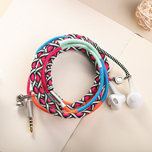 URIZONS Kopfhörer mit Mikrofon und Fernbedienung, In-Ohr Ohrhörer für iPhone iPad iPod Mac Laptoptabletten Android Smartphones Handmade Stoff Geflochtener Tribe Thread Wrapped Armband