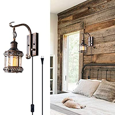 Wall Light 2-in-1 Oil Rubbed Bronze Industrial Plug in Hardwired