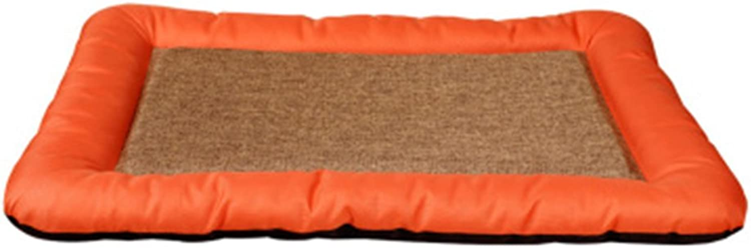 BEDS Dogs Furniture Washable kennel dog Summer pet pad Taidi golden Retriever large dog cool pad pet can be used all seasons (color   orange, Size   S)
