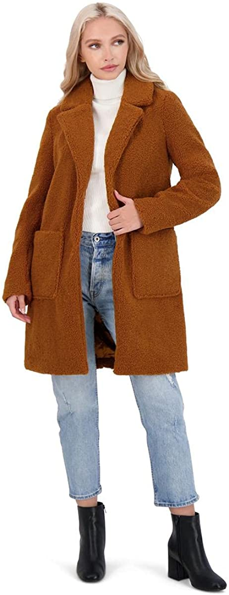 French Connection womens 3/4 Faux Shearling Coat
