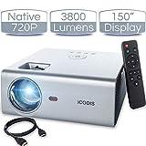 iCODIS T400 Mini Projector 3800 Lumens, 720P Native Resolution, Full HD 1080P Supported