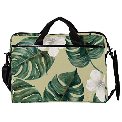 TIZORAX Laptop Messenger Shoulder Bags Palm and Hibiscus Computer Sleeve Notebook Carrying Case 15-15.4 inch Handbag