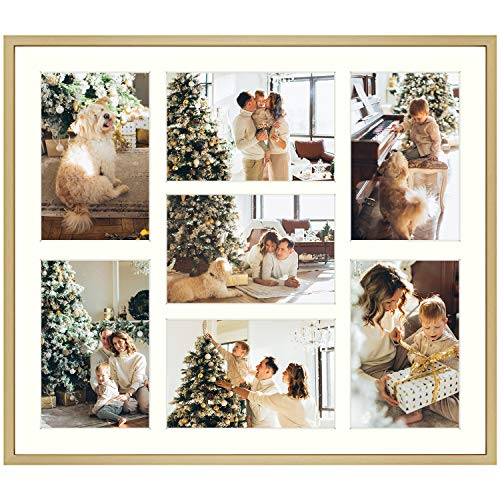 13.7x15.7 Gold Collage Frame - Ivory Mat - Displays Seven 4x6 Photos - Aluminum Metal - Real Glass, Sawtooth Hanger, Swivel Tabs - Wall Mounting, Landscape, Portrait