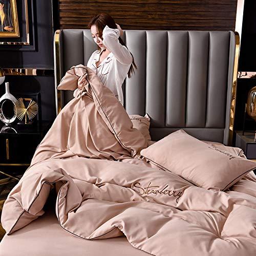 GmanXier Satin bettwäsche,Gebürstete einfache einfarbige Bettbezug Kissenbezug...