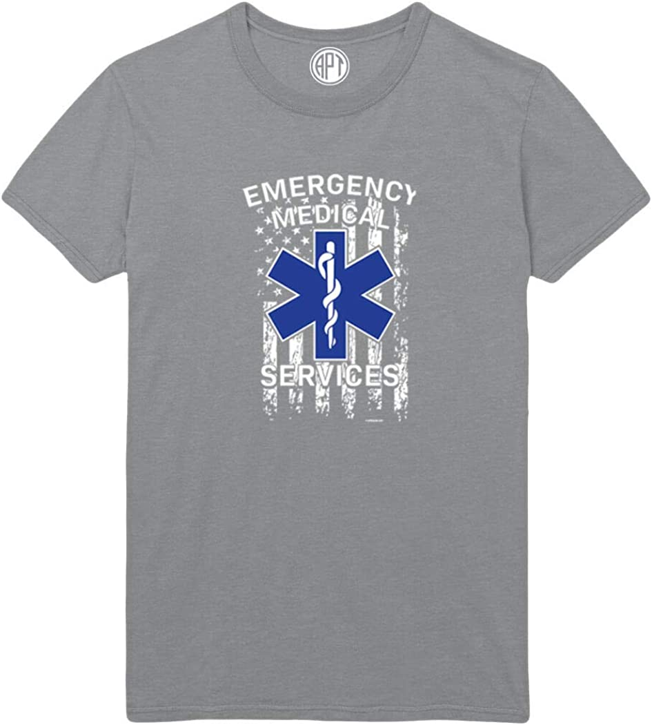Emergency Medical Services with Flag Printed T-Shirt